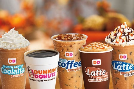 A picture of different beverages from Dunkin'
