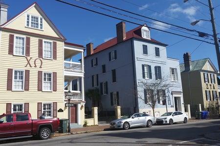 3 sorority houses on a street