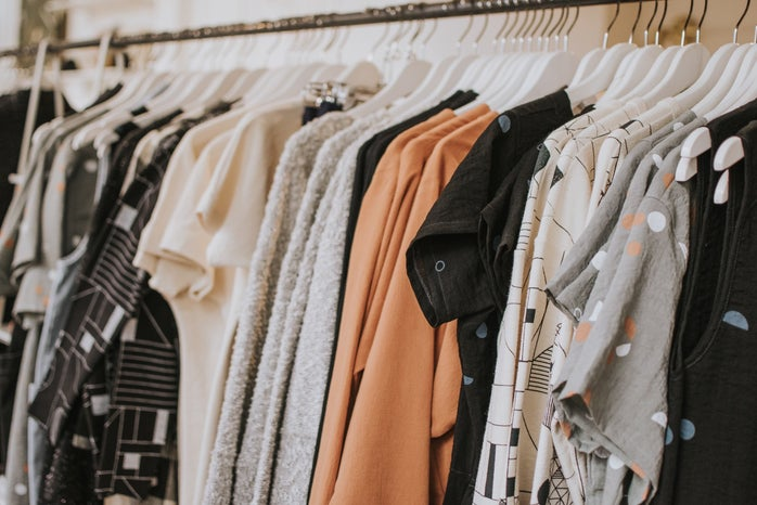 rack of clothes hanging