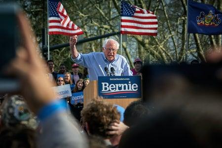 Bernie Sanders at a rally