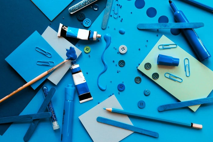a bunch of blue items on a blue background