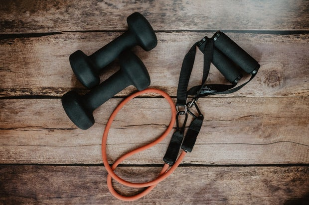 weights and band, workout materials