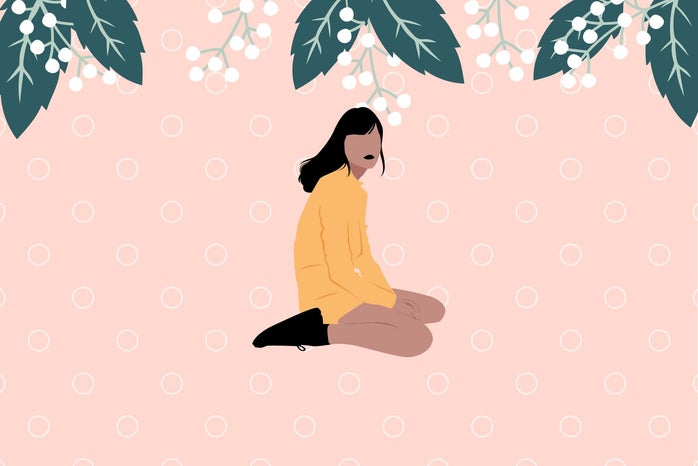 cartoon girl kneeling on the ground, flowers and leaves hanging above her