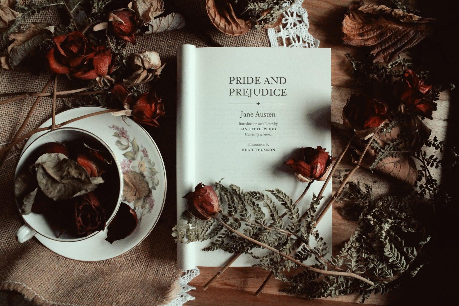Pride and Prejudice, Jane Austen, book, flowers, roses