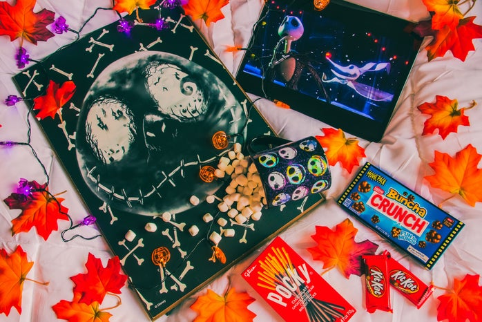 Halloween movie night with candy