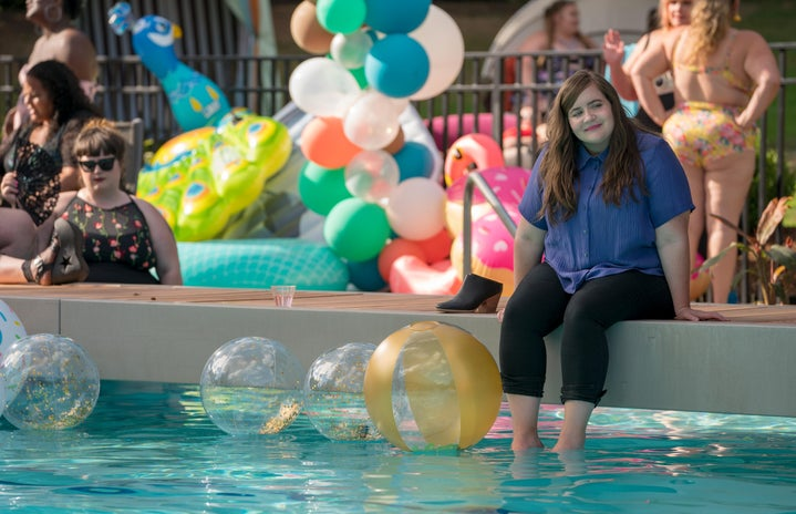 Shrill pool party scene from Hulu