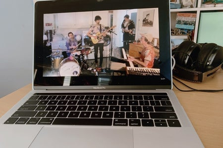 concert being streamed on a computer
