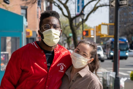 Couple walking during quarantine