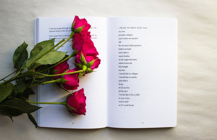 red roses on a book of poetry