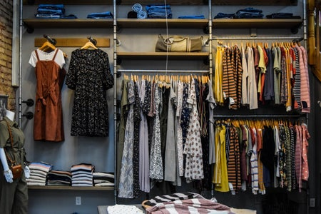 assorted clothes at a store