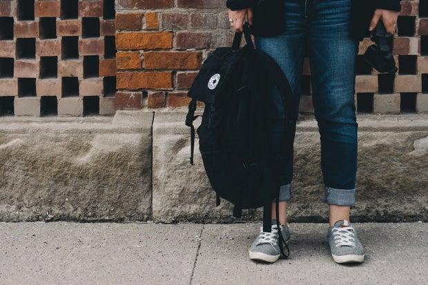College Backpack Feet