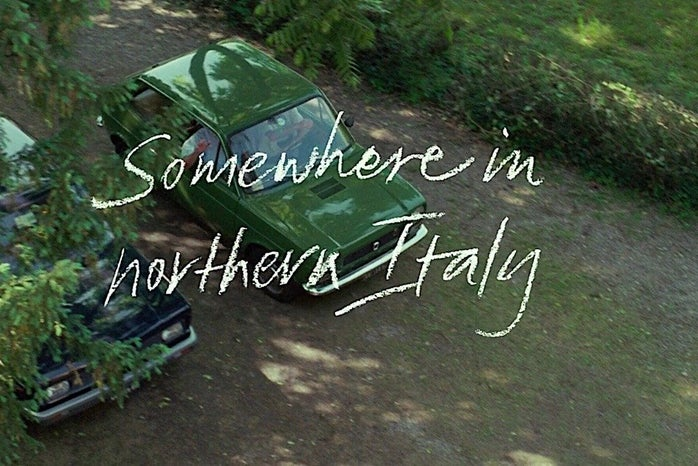 """scene from \""""Call Me By Your Name\"""", car with words \""""Somewhere in Northern Italy\"""""""
