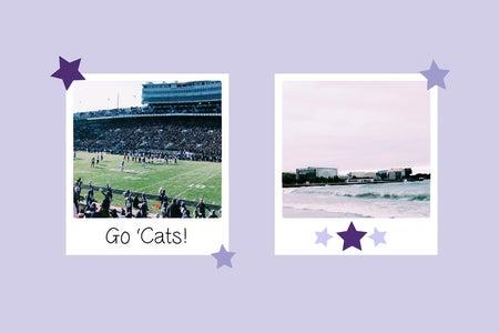 Polaroid graphics with original photos of Northwestern