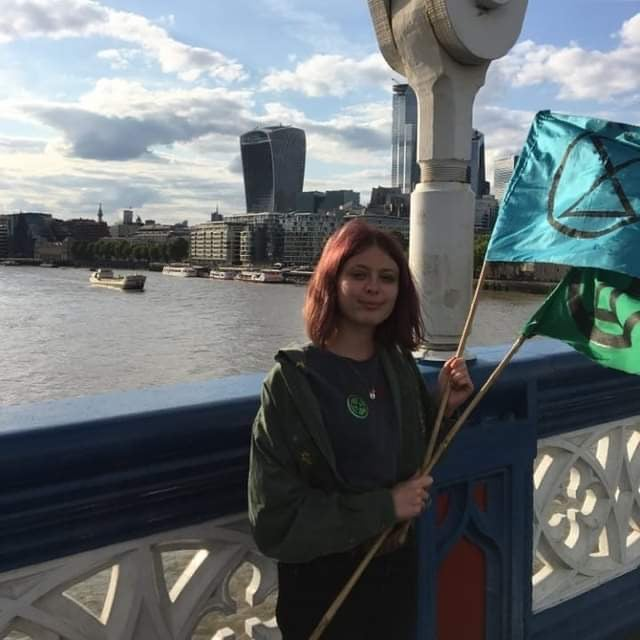 Photo of extinction rebellion youth campaigner, who we interviewed for an article