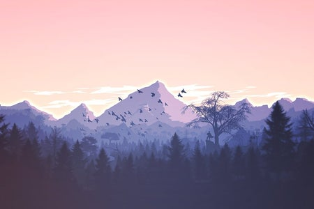 Drawing of a mountain in front of a sunset with some trees and birds
