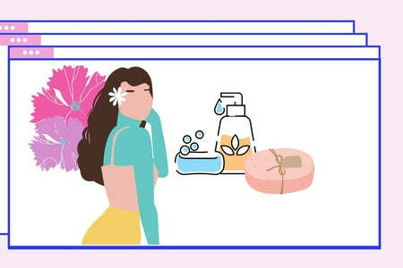 girl with flowers and skincare products