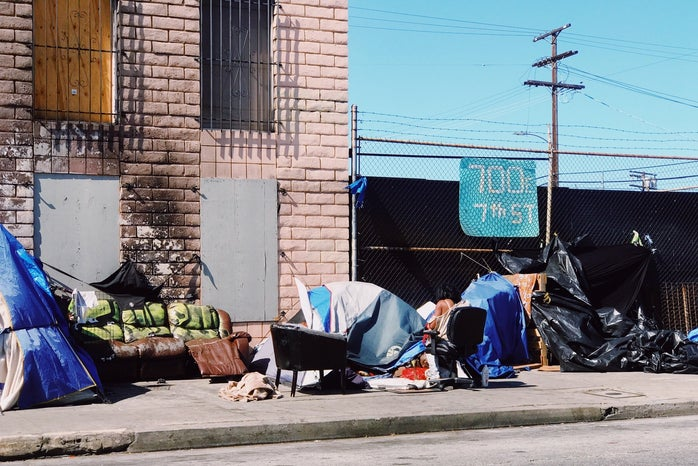 Homeless blue tents