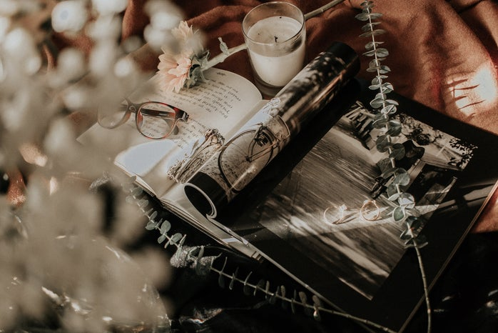 Magazine, Glasses, and Floral Aesthetic