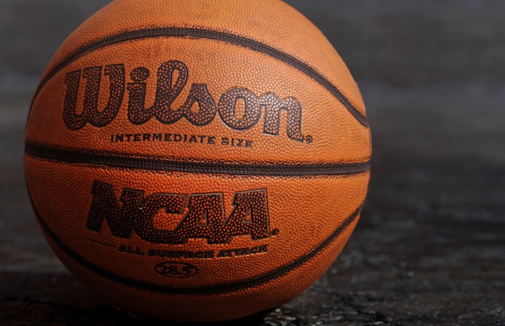 up close basketball with NCAA on the front