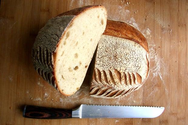 loaf of bread cut in half