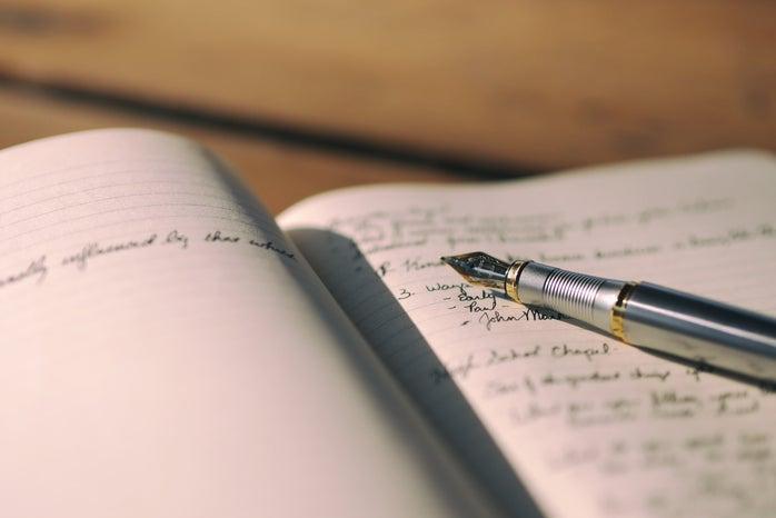 Fountain pen on a journal
