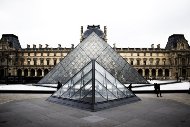The Louvre Museum pyramids, Paris, France