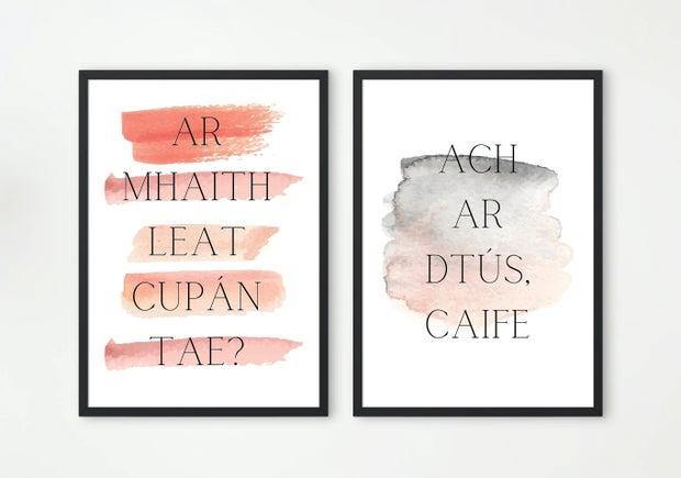Print done by irish artist, in Irish language