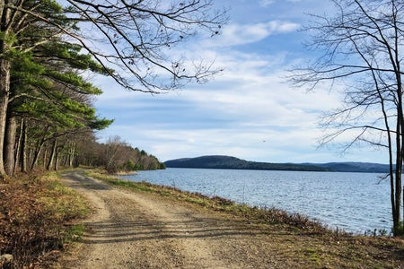 view of Quabbin walking trail with mountains