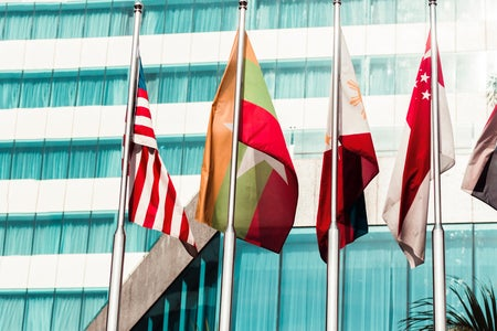 Flags in front of a building