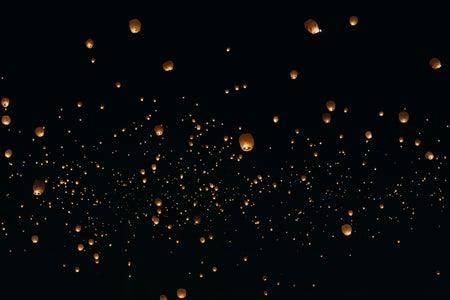 Floating Lanterns at night