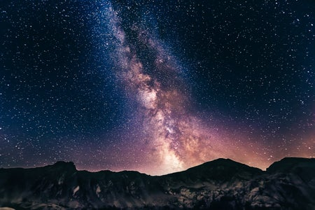 Galaxy of Stars behind mountains