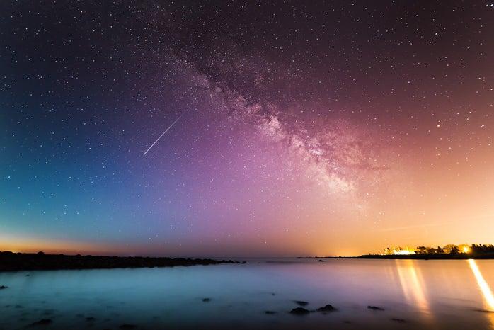 Stars by ocean