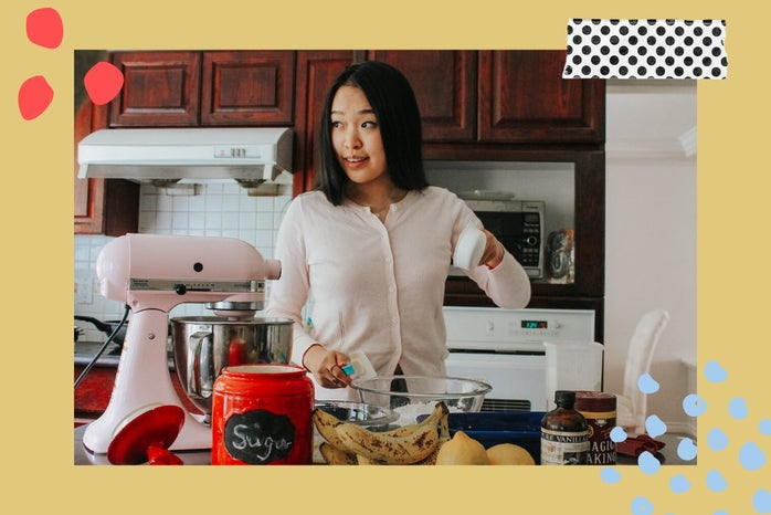 Michelle baking with Canva edits.