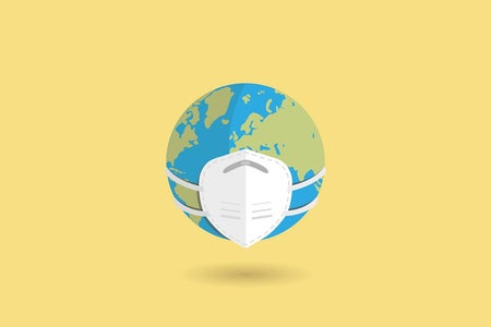 A vector illustration representing the Earth wearing a mask.