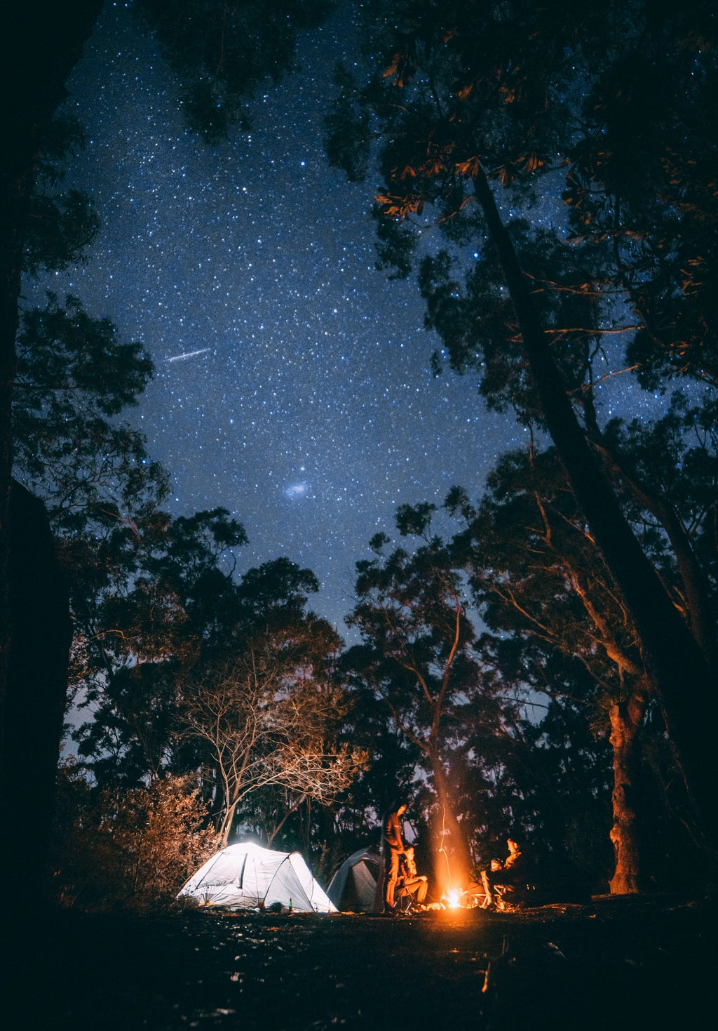 Bonfire and tent under the stars