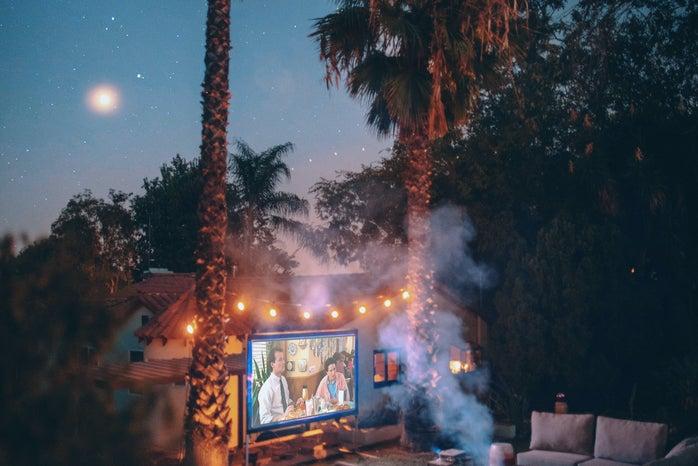 Backyard movie projector outside