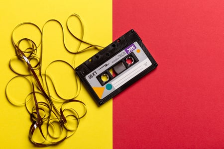 mixtape on a red and yellow background