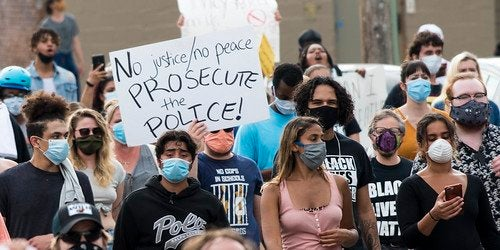 BLM Peaceful Protesters, holding signs