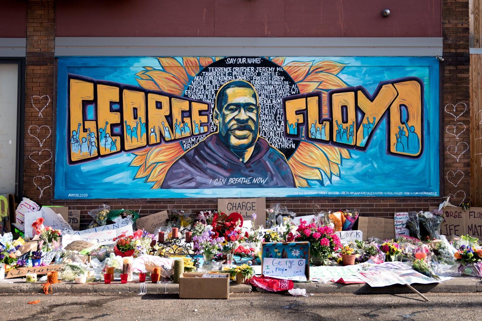 George Floyd minneapolis protest mural