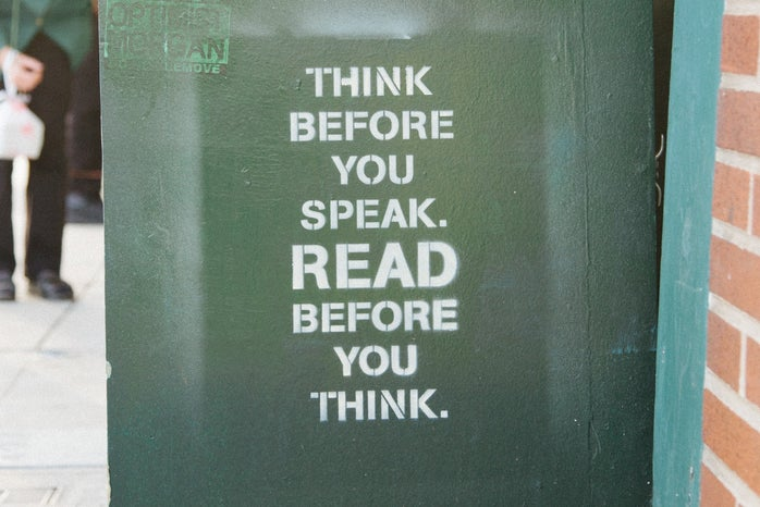 think before you speak sign