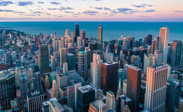 aerial view of sunrise in Chicago