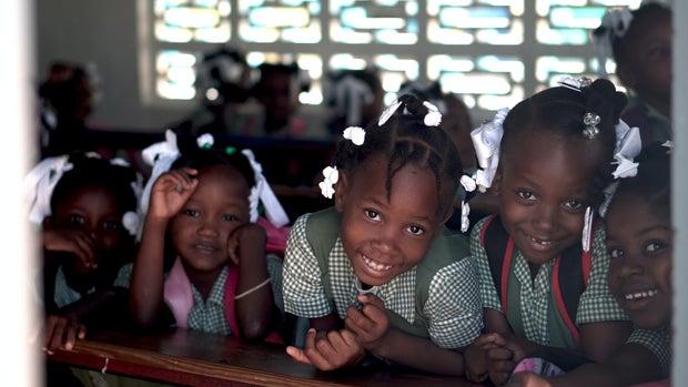 Girls going to school in Haiti