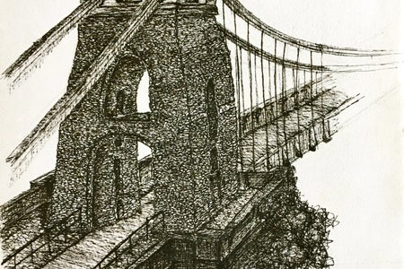Drawing of Bristol Suspension Bridge
