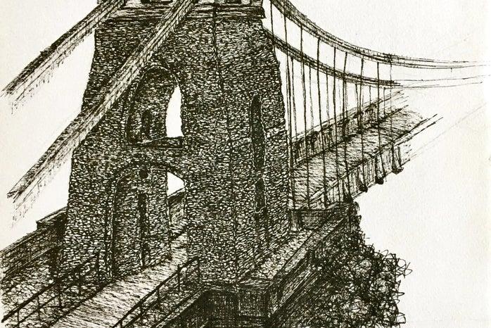 Drawing of Bristol Suspension Bridge