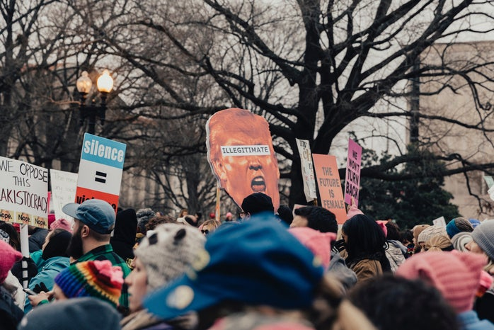 group of protesters at a women\'s march