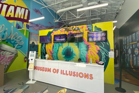 Colorful front desk to the entrance of the Museum of Illusions