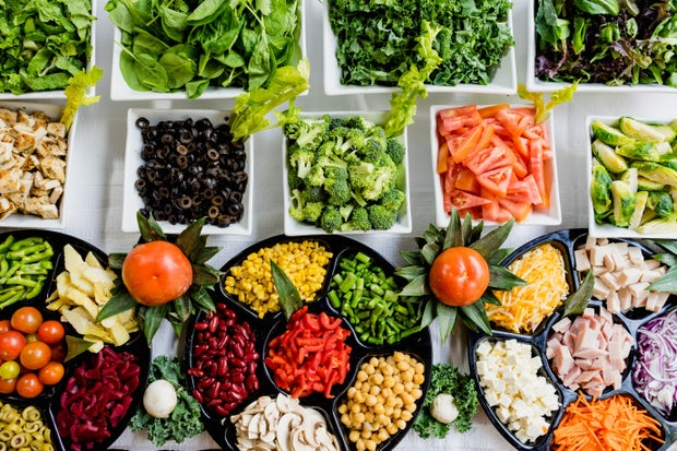 macro shot of salad bar