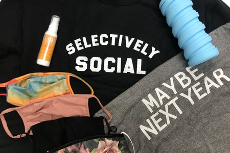 Back-to-school t-shirts, face masks, hand sanitizer, and water bottle
