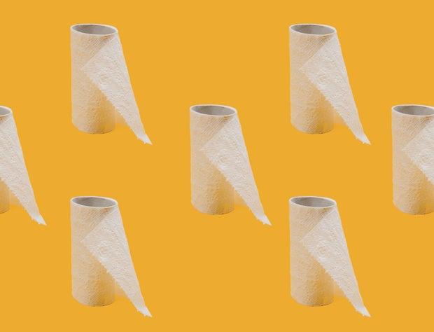 white tissue toilet paper roll
