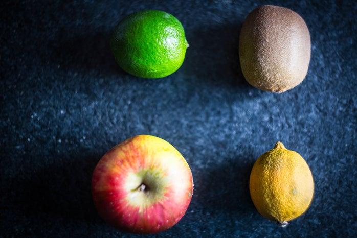 clock-wise: lime, kiwi, lemon, apple